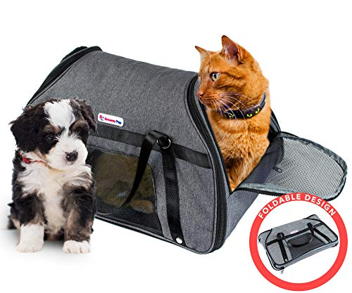 DreamyPup Best Soft Pet Carrier for Small Dogs and Cats - TSA Airline Approved - Expandable Bag w/Breathable Mesh Windows - Soft Dual-Sided Entry - Spacious Comfortable Travel 1