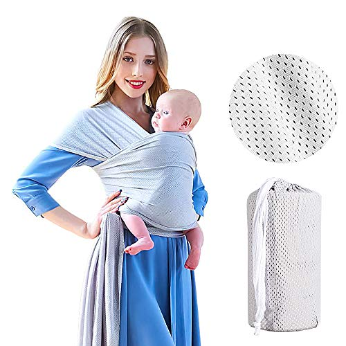 Baby Sling Carrier, Soft and Comfortable Stretchy Baby Wraps for Infants up to 45 lbs/20kg; Mesh Fabric Hands Free Ergonomic Baby Carrier Ideal for Summers/Beach (Gray)