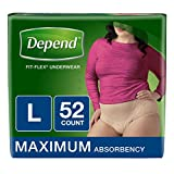 Depend FIT-FLEX Incontinence Underwear for Women, Maximum Absorbency, L, Tan, 52 Count