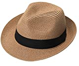 Lanzom Men Summer Straw Foldable Roll up Hat Fedora Beach Sun Hat UPF50+ (A-Khaki)