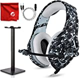 ONIKUMA K1-B Pro Camouflage Over-Ear Surround Sound Noise Cancelling Gaming Headset Microphone Bundle with Headphone Stand for PC, Xbox One, PS4, Nintendo Switch, Mac, Desktop, Laptop, Computer