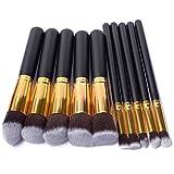 BUSKY Makeup Brushes Set 10 PCS Wood Handle Soft Nylon Bristles Kabuki Powder Blush Liquid Eyeliner Eyeshadow Lip Eyebrow Brush