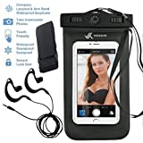 Voxkin Universal Waterproof Case with Waterproof Earphone and Headphone Jack, Armband, Compass, Lanyard for iPhone 6S, 6, 6 Plus, Note 4, S6 Or Any Phone – Best Waterproof Bag