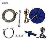 iZipline 95 Feet Zip line Kit with Seat and Bungee Brake,Speed Trolley Pulley with Grip Handle Bar,Zipline kit for Kids and Children Backyard Playground Adventures Blue