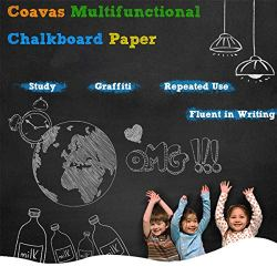Coavas Multifunctional Chalkboard-Paper Wall Stickers Vinyl Adhesive DIY Blackboard Wallpaper with 5 Free Chalks for Home Office Cafes Restaurant etc. 17.7 x 78.7 Inches