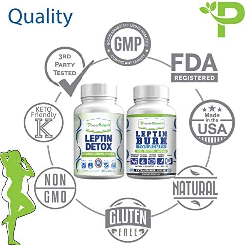 Leptin Detox + Leptin Burn Combo - Vegan - Leptin Supplements for Weight Loss for Women - Leptin Resistance Supplements - All Natural Safe and Effective - Non-GMO - 1 Month 7