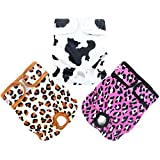 wegreeco Luxury Washable Reusable Dog Diapers(New Pattern - Durable Female Dog Diapers, Stylish Doggie Diapers, 3 Pack (Cheetah Print, Extra Large)