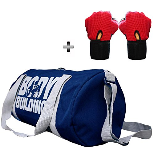 5 O' CLOCK SPORTS Gym Bag Combo Set Enclosed With Body Building Polyster Duffle Gym Bag For Men and Women For Fitness – Bag Size 49cm x 24cm x 24cm – Blue Color- Leather Gym Gloves With Wrist Support- Red Color ®