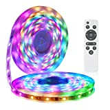 LED Strip Lights More Than 80 Kinds of Modes Music Activated Rainbow Lights 32.8ft/10m IP65 Waterproof LED Light Strip 5050 RGB LED Strip with RF Controller by DotStone
