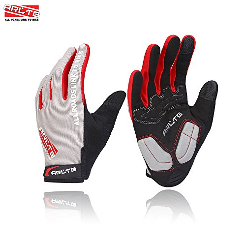 Arltb Bike Gloves Bicycle Cycling Biking Gloves Mitts Full Finger Pad Breathable Lightweight For Bike Riding Mountain Bike Motorcycle Free Cycle BMX Lifting Fitness Climbing, Grey, Medium