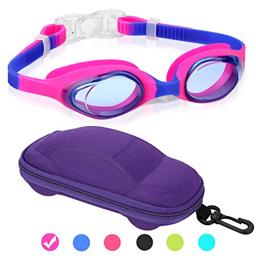 Kids Swim Goggles Swimming Goggles for Boys Girls Kid Age 3-12 Child Colorful Swim Goggles Clear Vision Anti Fog UV Protection No Leak Soft Silicone Nose Bridge Protection Case Kids' Skoogles
