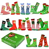 TeeHee Christmas Holiday 12-Pack Gift Socks for Women with Gift Box (Holiday-B)
