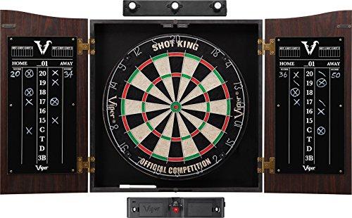 Viper Vault Sisal/Bristle Steel Tip Dartboard & Cabinet Bundle: Elite Set (Shot King Dartboard, Darts, Shadow Buster and Laser Throw Line)