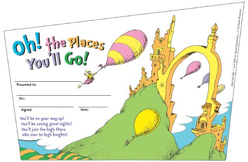 Eureka Dr. Seuss Oh, The Places You Go, Set of 36 Recognition Awards