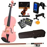 Mendini Size 1/4 MV-Pink Solid Wood Violin with Tuner, Lesson Book, Shoulder Rest, Extra Strings, Bow and Case, Metallic Pink