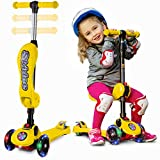 2-in-1 Scooter for Kids with Folding Removable Seat Zero Assembling - Adjustable Height Kick Scooter for Toddlers Girls & Boys - Fun Outdoor Toys for Kids Fitness 3 PU Flashing Wheels Extra Wide Deck