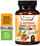 Turmeric Curcumin 15X High Potency 95% Curcuminoids 1950mg with Bioperine Black Pepper for Best Absorption, Made in USA, Best Vegan Joint Pain Relief, Nature's Nutrition Turmeric Pills - 60 Capsules