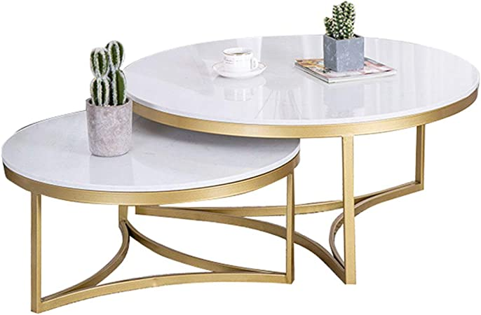 Set Of 2 Nest Of Tables White Nesting Tables Coffee Table Marble Top And Metal Legs Living Room Furniture Modern Design 1 Large And 1 Small Amazon Co Uk Kitchen Home