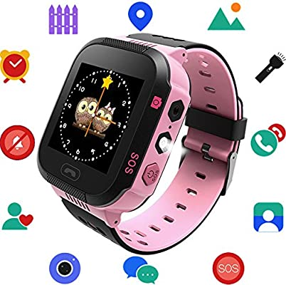 Kids Smart Watch for Boys Girls - Child Sports Watch Phone Digital Wrist Armband Android Smartwatch with Call SOS LBS Tracker Camera Flashlight Alarm Clock Games for Children Age 3-12 (GM9-Pink)
