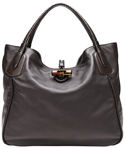 513aJO60QGL made in Italy dark brown deer leather with dark brown leather detail antique gold hardware / bamboo frog closure with braided leather piping
