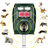 Wikomo Ultrasonic Pest Repeller, Solar Powered Waterproof Outdoor Animal Repeller with Ultrasonic Sound,Motion Sensor and Flashing Light for Cats, Dogs, Squirrels, Moles, Rats New 2019