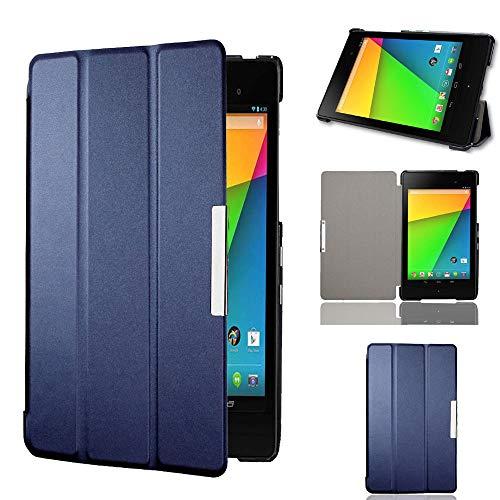 Motoor Google Nexus 7 2nd Gen PU Leather Tablet Case with Anti-Shock Ultra-Thin Triple Folding Performance for Google Nexus 7 2nd 2013 Model K009 [Nexus 7C Asus] (Dark Blue)