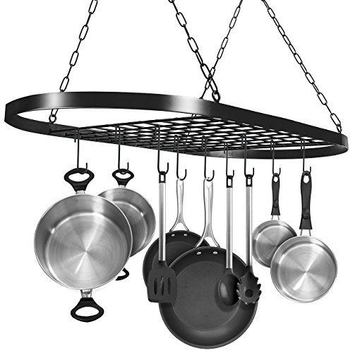 Sorbus Pot and Pan Rack for Ceiling with Hooks — Decorative Oval Mounted Storage Rack — Multi-Purpose Organizer for Home, Restaurant, Kitchen Cookware, Utensils, Books, Household