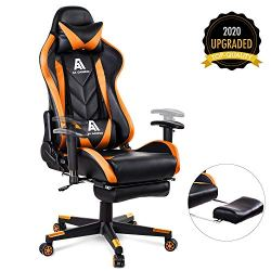 AA Products Gaming Chair High Back Ergonomic Computer Racing Chair Adjustable Office Chair with Footrest, Lumbar Support Swivel Chair – Orange