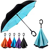 EEZ-Y Reverse Inverted Windproof Umbrella - Upside Down Umbrellas with C-Shaped Handle for Women and Men - Double Layer Inside Out Folding Umbrella