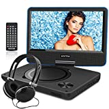 WONNIE 2019 New Upgrade 10.7' Portable DVD Player with 9 inch Swivel Screen, 5 Hours Rechargeable Battery, USB / SD Slot, for Kids and Car( Blue )