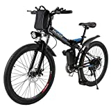ANCHEER Power Plus Electric Mountain Bike, 26'' Electric Bike with 36V 8Ah Lithium-Ion Battery, Shimano 21 Speed Shifter (Folding-Black)