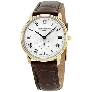 Frederique Constant Men's 235M4S5 Slim Line Analog Swiss Quartz Brown Watch