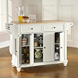 Crosley Furniture Cambridge Kitchen Island with Natural Wood Top - White