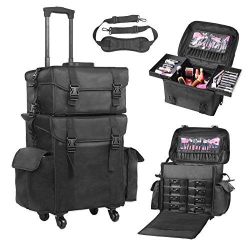Voilamart Rolling Makeup Case Trolley 2 in 1 Travel Cosmetic Train Cases on Wheels - Nylon Black Bags for Professional Make Up Artist Cosmetics Storage