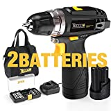 Cordless Drill, TECCPO 12V MAX Drill, Compact Drill set with 2Pcs 2000mAh Batteries, 2-Speed, 20+1 Torque Setting, Fast Charger, 265In-lbs Torque, 3/8' Chuck, 29pcs Accessories - TDCD01P