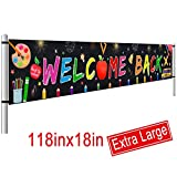 Large Welcome Back Banner, First Day of School Banner, Back to School Decorations Party Supplies, Teacher Banner Office Classroom Decor (9.8 x 1.5 FT)