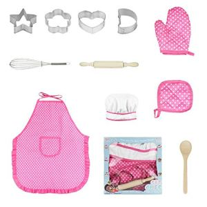 josietomy Kids Cooking And Baking Set, Children Bakeware Kit Include Apron Oven Glove,Eggbeater, Cookie Cutters Real Baking Supplies Kitchen Chef Costume for Children-Multicolor 513jD qkYFL