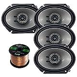 Kenwood KFC-D681C Car Speaker Package of 4 (2 Pairs) 720-Watt 6x8 Inch 3-Way Performance Series Coaxial Speakers Bundle Combo with Enrock 16-Gauge 50 Feet Speaker Wire