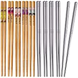 Omia 10 Pairs Premium Reusable Chopsticks Set - 5 Pairs Metal Stainless Steel Chopsticks with 5 Pairs Natural Wooden Bamboo Chopsticks Lightweight Easy to Use Chop Stick Utensils