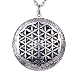 Aroma Locket Essential Oil Diffuser Antique Silver Peace OM Celtics Knots Flower Of Life Pendant Necklace + Bohemia Style Gift Pouch (XSH-534)