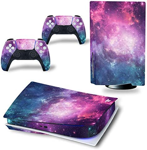 SKINOWN Skin Sticker Decal for Playstation PS5 CD Version Disk Edition Console and Controllers Galaxy Purple