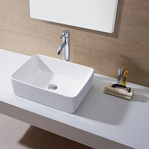 Kes Bathroom Rectangular Porcelain Vessel Sink Above Counter White Countertop Bowl Sink For