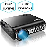 1080P Projector,XINDA 5000 Lux Projector with 300'Display,±50°4D Keystone Correction with X&Y Zoom,4K Home Theater Projector,Home &Business Projector for TV Stick,Smartphone,PC,Box,PS4,HDMI,VGA,USB