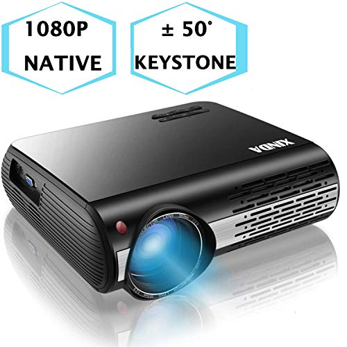 "1080P Projector,XINDA 5000 Lux Projector with 300""Display,±50°4D Keystone Correction with X&Y Zoom,4K Home Theater Projector,Home &Business Projector for TV Stick,Smartphone,PC,Box,PS4,HDMI,VGA,USB"