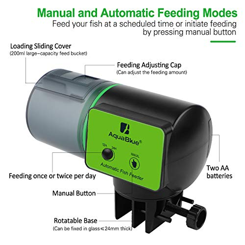 Automatic Fish Feeder for Aquarium Tank, Moisture-Proof Electric Auto Fish/Turtle Feeder for Flakes, Aquarium Tank Timer Feeder Vacation &Weekend Fish Food Dispenser 2