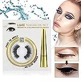 Magnetic Eyeliner, Magnetic Eyeliner With Magnetic Eyelashes, Waterproof Sweatproof Magnetic Liquid Eyeliner, 3D Magnetic False Eyelashes & Tweezers, No Glue Needed