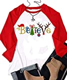 YUYUEYUE Believe Santa Christmas T-Shirt Women Long Sleeve Cute Funny Raglan Shirts Tops (Medium, White)