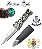 "www.mysticalblades.com 9"" Thor's Hammer Twisted Steel Celtic Sgian Dubh Scottish Dirk Wedding Athame Dagger with Red Ruby"