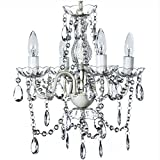 The Original Gypsy Color 4 Light Small Crystal Chandelier for H 17.5' x W 15', White Metal Frame with Clear Poly-carbonate Crystals