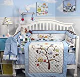 SoHo Baby Crib Bedding 14Pc w Diaper Bag, Bluebird